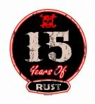 Distressed Aged 15 Years Of Rust Motif For Retro Rat Look VW etc. External Vinyl Car Sticker 100x90mm